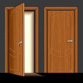 vector Illustration of opened and closed classic wooden door only simply colors used (similar versio