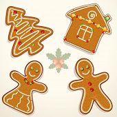 Gingerbread Man, House, and Tree - Cookies Collection - vector illustration of decorative Christmas