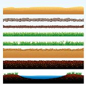 Natural Grass and Ground Seamless borders - set of vector cartoon illustrations of grass field, ston
