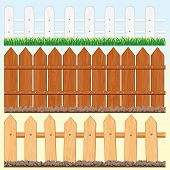 Set of vector Seamless Wooden Fences and palisades - Isolated elements