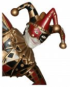 stock photo of minstrel  - Cutout of a joker or jester with plain white background - JPG