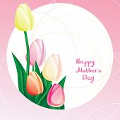 Peekaboo Mother's Day  Card With Tulipe And Calligraphy. Font Not Used