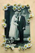 Vintage bridal pair with daisies