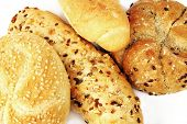 Various types of breadrolls in detail