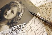 stock photo of scribes  - Vintage composition with photo of lovely girl - JPG