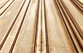 Fast railroad. Railroad tracks and fast motion forward.