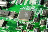 Computer chip closeup. Green tint.