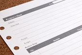 Close Up Blank Form Project / Goals. Blank Form Of Project Planning And Goals On Table. Business Pro poster
