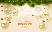 Christmas Elegant Gold Design Template Of Holiday Sale, Glass Christmas Balls On White Background Wi poster