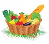 Basket with raw food. Vector.
