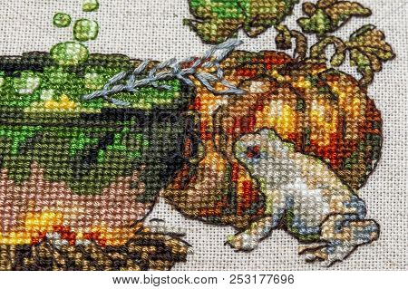 Crossstitch Embroidery With Cat In