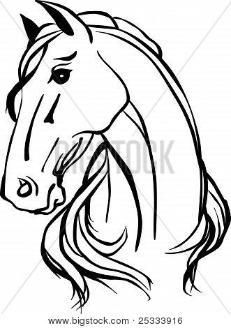 Picture or Photo of Simple black and white drawing of horse head