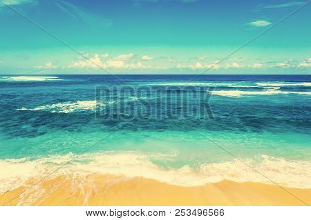 poster of Beach And Beautiful Tropical Sea. Caribbean Summer Sea With Blue Water. White Clouds On A Blue Sky O