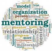 Mentoring related words concept in tag cloud on white