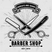 Barber Shop Vintage Label, Badge, Or Emblem With Scissors And Razors On Gray Background. Haircuts An poster