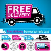 Vector lorry/van and delivery icons set with cut out coupon illustration, promotional banner and glo