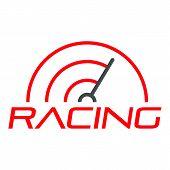 Racing Line Speedometer Logo. Flat Illustration Of Racing Line Speedometer Logo For Web Design poster