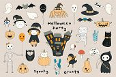 Big Set Of Kawaii Funny Halloween Elements, Characters, With Text, Haunted House, Pumpkins, Ghosts,  poster