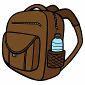 Backpack With A Water Bottle - A Vector Cartoon Illustration Of A Backpack With A Water Bottle. poster
