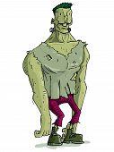 Monstro de Frankenstein dos desenhos animados com pele verde para o Halloween