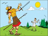 picture of israel people  - Cartoon of Goliath defeated by David - JPG
