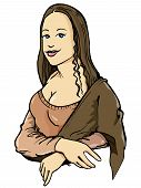 stock photo of mona lisa  - Cartoon of the Mona Lisa with her smile - JPG