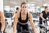 Determined Young Woman In Sportswear Using Stationary Bicycle In Health Club poster