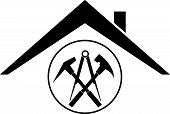 Roofing Tools And House Roofing, Roofing Sticker Label poster