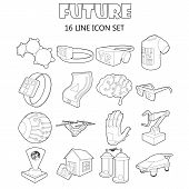 Outline Future Icons Set. Universal Future Icons To Use For Web And Mobile Ui, Set Of Basic Future E poster