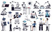 Robots Next Generation Artificial Intelligence Machines In Industry Medicine Housekeeping Office Hel poster