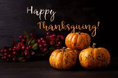 Happy Thanksgiving Greeting Card With The Orange Pumpkins poster