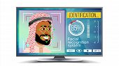 Face Recognition, Identification System Vector. Face Recognition Technology. Arab Face On Screen. Hu poster