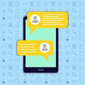 Short Message Service Bubbles With Place For Text Chat Text Boxes.chat, Sms, Tweet, Instant Messagin poster