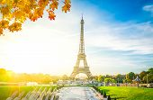 Eiffel Tower From Trocadero At Autumn Sunrise, Paris, France, Retro Toned poster
