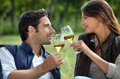 foto of wine-glass  - Couple drinking wine in field - JPG