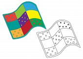 Quilt Colorful And Black And White Colors, Coloring Page. Vector Illustration. poster
