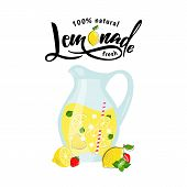 Vector Illustration Of Lemonade In Pitcher With Lemon Slice And Strawberry. Lemon Juice, Made Fresh  poster