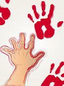 Rode verf hand afdrukken