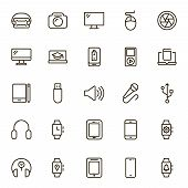 Device Flat Icon Set . Single High Quality Outline Symbol Of Info For Web Design Or Mobile App. Thin poster