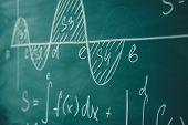 Mathematics Function Integra Graph Formulas On The Chalkboard. poster
