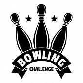 Bowling Challenge Logo. Simple Illustration Of Bowling Challenge Logo For Web Design Isolated On Whi poster