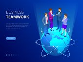 Isometric Business Team, Business People Concept. Web Banner. Business People Are Standing On A Worl poster