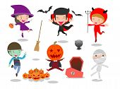 Halloween Kids Costume Party On White Background, Group Of Child In Halloween Costume Jumping, Happy poster