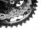 Mountain bike crankset with chain close-up