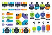 Infographic Options. Arrow Diagrams, Abstract Process Charts And Strategy Infographs With Steps. Bus poster