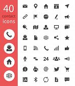 Contact Web Icons. Telephone, Home Address, Email And Website Business Contacts Vector Symbols Isola poster