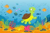 Turtle In Underwater Scene. Tortoise, Seaweeds And Fishes In Ocean Bottom. Cartoon Marine Vector Bac poster