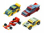 Race Car Set. 3d Racing Cars. Isometric Sport Pictures poster