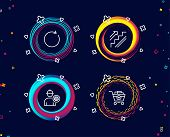 Set Of Synchronize, Engineer And Stairs Icons. Add Products Sign. Refresh Or Update, Worker With Cog poster