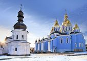 Ancient Saint Michael Gilded Orthodox Cathedral In Snow